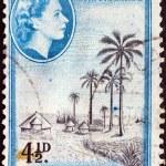 NYASALAND - CIRCA 1953: A stamp printed in Nyasaland shows fishing village, lake Nyasa with Queen Elizabeth II, circa 1953. — Stock Photo