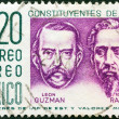 MEXICO - CIRCA 1956: A stamp printed in Mexico shows Leon Guzman and Ignacio Ramirez, circa 1956. — Stock Photo