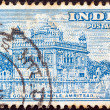 Stock Photo: INDI- CIRC1949: stamp printed in Indishows Golden Temple, Amritsar, circ1949.