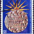 "GREECE - CIRCA 1992: A stamp printed in Greece from the ""Macedonia"" issue shows ancient Macedonian tetradrachm coin and the Vergina Sun, circa 1992. — Stock Photo #14535405"