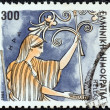 "GREECE - CIRCA 1986: A stamp printed in Greece from the ""Gods of Olympus"" issue shows goddess Hera, circa 1986. — Stock Photo"