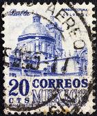 MEXICO - CIRCA 1950: A stamp printed in Mexico shows Puebla Cathedral, circa 1950. — Stock Photo