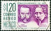MEXICO - CIRCA 1956: A stamp printed in Mexico shows Leon Guzman and Ignacio Ramirez, circa 1956. — Stock Photo
