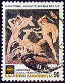 """GREECE - CIRCA 1992: A stamp printed in Greece from the """"Macedonia"""" issue shows Deer hunt (mosaic), Pella, circa 1992. — Stock Photo"""