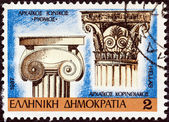 """GREECE - CIRCA 1987: A stamp printed in Greece from the """"Classical Architecture Capitals"""" issue, shows Archaic Ionic and Corinthian capitals, circa 1987. — Stock Photo"""