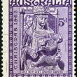 "AUSTRALI- CIRC1962: stamp printed in Australifrom ""Christmas"" issue shows Madonnand Child (early 16th century Spanish carving), circ1962. — Stock Photo #14708663"