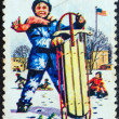 "Stock Photo: USA - CIRCA 1964: A stamp printed in USA from the ""Boys Town, Nebraska"" issue shows a boy with sled in snow, circa 1964."