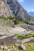 Delphi theater and Apollo temple, Greece — Stock Photo