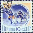 """USSR - CIRCA 1960: A stamp printed in USSR from the """"Winter Olympic Games, Squaw Valley, California"""" issue shows an ice hockey game, circa 1960. — Stock Photo"""
