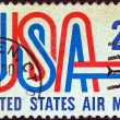 "USA - CIRCA 1968: A stamp printed in USA shows ""USA"" and jet airliner silhouette, circa 1968. — Stock Photo"