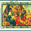 "HUNGARY - CIRCA 1978: A stamp printed in Hungary issued for the 450th death anniversary of painter Albrecht Durer shows ""Adoration of the Magi"" painting, circa 1978. — Stock Photo"