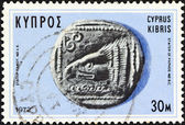 "CYPRUS - CIRCA 1972: A stamp printed in Cyprus from the ""Ancient coins of Cyprus (1st series)"" issue shows a stater of Paphos (460 B.C.), circa 1972. — Stock Photo"