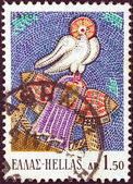 """GREECE - CIRCA 1970: A stamp printed in Greece from the """"Greek Mosaics"""" issue shows The Holy Ghost, Osios Loukas Monastery (11th century A.D.), circa 1970. — Stock Photo"""