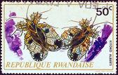 "RWANDA - CIRCA 1973: A stamp printed in Rwanda from the ""Rwanda Insects"" issue shows a pair of Kitoko alberti, circa 1973. — Foto Stock"