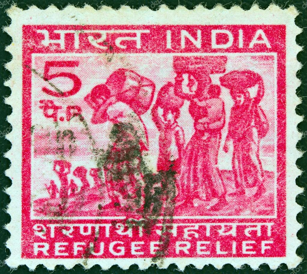 INDIA - CIRCA 1971: A stamp printed in India issued for refugee relief shows refugees from East Pakistan, circa 1971.  — Stock Photo #14866769