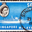 BRITISH MALAYA-SINGAPORE - CIRCA 1955: A stamp printed in United Kingdom shows liner Chusan III and Queen Elizabeth II, circa 1955. - Stock Photo