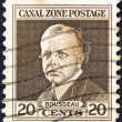 PANAMA CANAL ZONE- CIRCA 1928: A stamp printed in Panama Canal Zone shows a portrait of Admiral Rousseau, circa 1928. — Stock Photo