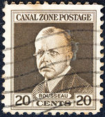 PANAMA CANAL ZONE- CIRCA 1928: A stamp printed in Panama Canal Zone shows a portrait of Admiral Rousseau, circa 1928. — Stock fotografie