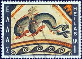 """GREECE - CIRCA 1970: A stamp printed in Greece from the """"Greek Mosaics"""" issue shows a Dolphin Mosaic, Delos island (110 B.C.), circa 1970. — Stock Photo"""