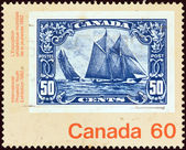 "CANADA - CIRCA 1982: A stamp printed in Canada from the ""Canada 1982 International Philatelic Youth Exhibition, Toronto. Stamps on Stamps."" issue shows a 50c stamp from 1929, circa 1982. — 图库照片"