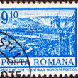"ROMANIA - CIRCA 1972: A stamp printed in Romania from the ""Definitives I - Buildings"" shows Hydro-electric power station, Iron Gates, circa 1972. — Stock Photo"