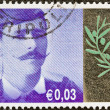 """GREECE - CIRCA 2004: A stamp printed in Greece from the """"Greek Olympians"""" issue shows Spyridon Louis who won the first marathon of the modern Olympic games in 1896, circa 2004. — Stock Photo"""