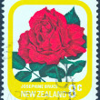 "NEW ZEALAND - CIRCA 1975: A stamp printed in New Zealand from the ""Garden Roses"" issue shows Josephine Bruce rose, circa 1975. — Stock Photo"