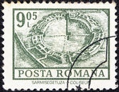 "ROMANIA - CIRCA 1972: A stamp printed in Romania from the ""Definitives I - Buildings"" shows Coliseum, Sarmisegetuza, circa 1972. — Stock Photo"