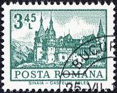 "ROMANIA - CIRCA 1972: A stamp printed in Romania from the ""Definitives I - Buildings"" shows Peles Castle, Sinaia, circa 1972. — Stock Photo"