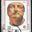 "GREECE - CIRC1979: stamp printed in Greece from ""Verginarchaeological findings"" issue shows mportrait made of ivory, circ1979. — Stock Photo #16168741"