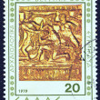 "GREECE - CIRC1979: stamp printed in Greece from ""Verginarchaeological findings"" issue shows part of sculpted golden arrow and bow case, circ1979. — Stock Photo #16168747"