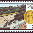 "GREECE - CIRCA 1980: A stamp printed in Greece from the ""Olympic Games, Moscow. Designs showing Greek stadia"" issue shows ancient stadium of Rhodes island and Cos island coin, circa 1980. — Stock Photo #16168901"