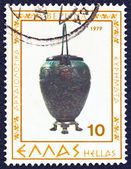 "GREECE - CIRCA 1979: A stamp printed in Greece from the ""Vergina archaeological findings"" issue shows a metallic urn, circa 1979. — Stock Photo"