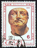 """GREECE - CIRCA 1979: A stamp printed in Greece from the """"Vergina archaeological findings"""" issue shows a man portrait made of ivory, circa 1979. — Stock Photo"""