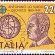"ITALY - CIRCA 1980: A stamp printed in Italy from the ""Europa"" issue shows geophysicist Antonino Lo Surdo and globe, circa 1980. — Stock Photo"