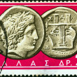 "GREECE - CIRC1963: stamp printed in Greece from ""Ancient Greek Coins"" issue shows coin from Chalcidice, Macedoni4th century B.C. (Apollo and lyre), circ1963. — Stock Photo #16504339"