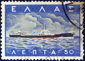 "GREECE - CIRCA 1958: A stamp printed in Greece from the ""Greek Merchant Marine Commemoration. Ship designs"" issue shows tanker ""Michael Carras"", circa 1958. — Stock Photo"