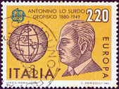 """ITALY - CIRCA 1980: A stamp printed in Italy from the """"Europa"""" issue shows geophysicist Antonino Lo Surdo and globe, circa 1980. — Stock Photo"""