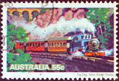 "AUSTRALIA - CIRCA 1979: A stamp printed in Australia from the ""Steam Railways"" issue shows Locomotive, Zig Zag Railway, New South Wales, circa 1979. — Stock Photo"
