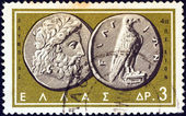 """GREECE - CIRCA 1963: A stamp printed in Greece from the """"Ancient Greek Coins"""" issue shows a coin from Olympia 4th century B.C. (Zeus and Eagle), circa 1963. — Stock Photo"""
