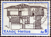 "GREECE - CIRCA 1975: A stamp printed in Greece from the ""National Architecture"" issue shows a mansion, Siatista, circa 1975. — Foto Stock"