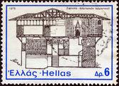 """Grecia - alrededor de 1975: un sello impreso en grecia de la cuestión de la """"arquitectura nacional"""" muestra una mansión, siatista, alrededor de 1975. — Foto de Stock"""