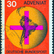 "Stock Photo: GERMANY - CIRC1967: stamp printed in Germany from ""ADVENIAT (Aid for Catholic Church in Latin America) issue shows Cross on South AmericMap, circ1967."