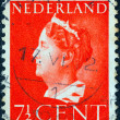 NETHERLANDS - CIRCA 1940: A stamp printed in the Netherlands shows Queen Wilhelmina, circa 1940. — Stock Photo