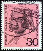 "GERMANY - CIRCA 1970: A stamp printed in Germany from the ""Birth Bicentenaries"" issue shows poet Friedrich Holderlin, circa 1970. — Stock Photo"