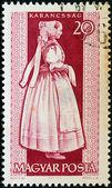 """Maďarsko - cca 1963: známka vytištěna v Maďarsku od """"provinční kostýmy"""" emise ukazuje žena z karancssag, cca 1963. — Stock fotografie"""