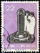 """CHINA - CIRCA 1966: A stamp printed in China from the """"New industrial products"""" issue shows engineers and machinery, circa 1966. — Stock Photo"""