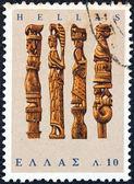 """Řecko - cca 1966: známka vytištěna v Řecku od """"řecké lidové umění"""" emise ukazuje pletací jehlice boxy, cca 1966. — Stock fotografie"""