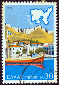"GREECE - CIRCA 1976: A stamp printed in Greece from the ""Tourist Publicity"" issue shows Lemnos island, circa 1976. — Stock Photo"