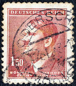 GERMANY - CIRCA 1942: A stamp printed in Germany issued to be used to Bohemia & Moravia Czech state shows a portrait of Adolph Hitler (by H. Hoffman), circa 1942. — Stock Photo